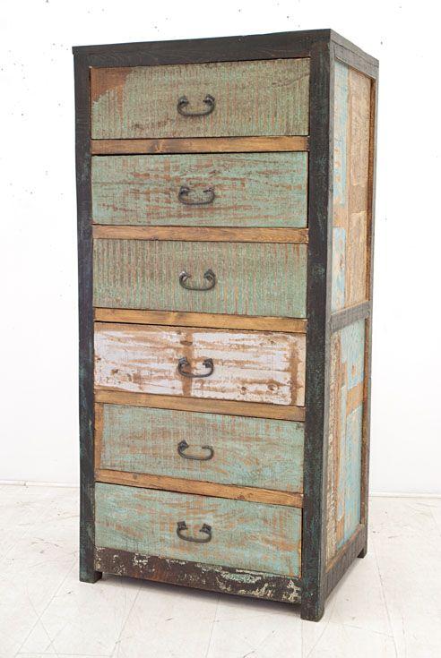 Chiffonnier 6 tiroirs fer et bois recyclé Ambiance Industrie