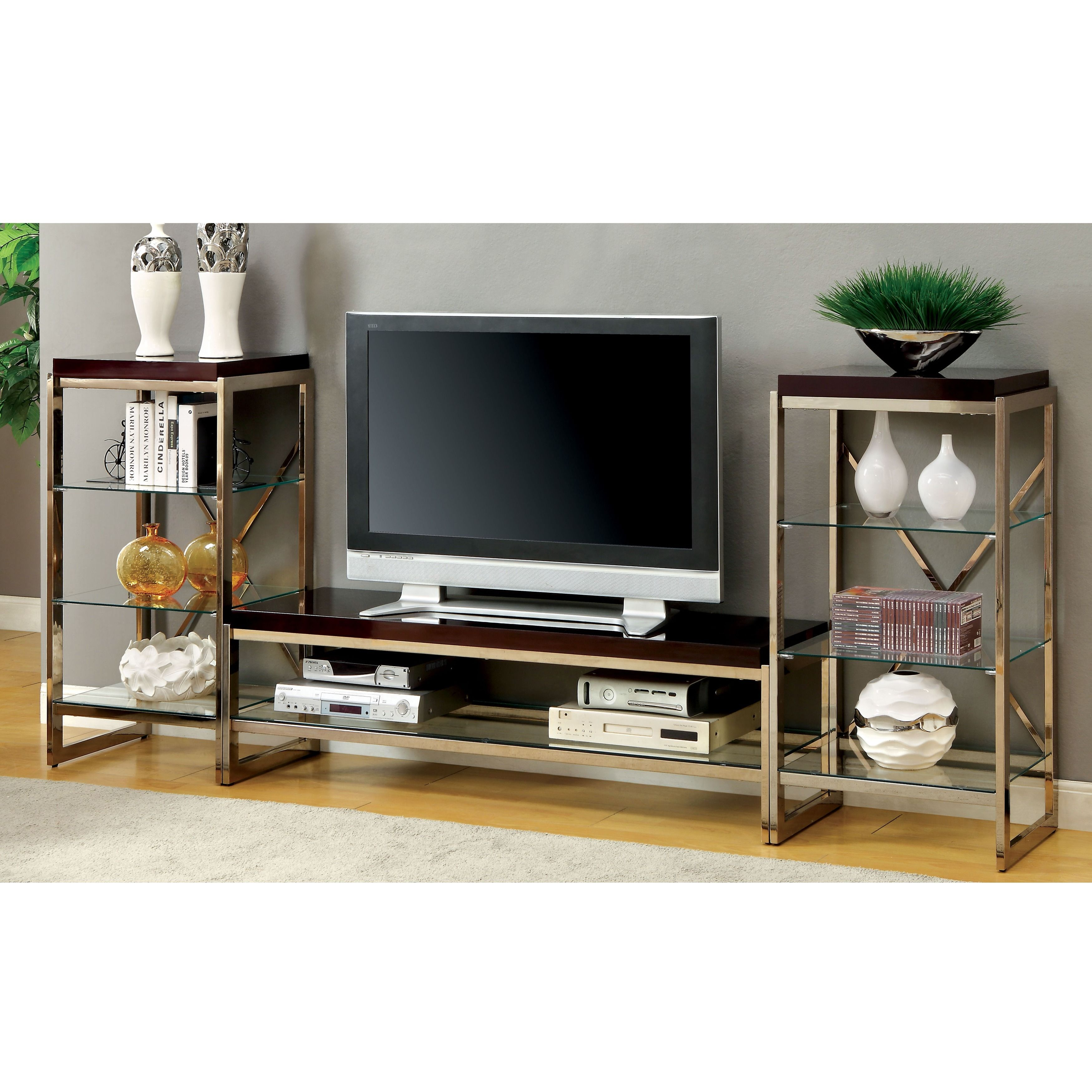Furniture of America Jacie Contemporary 3 piece Gold Entertainment
