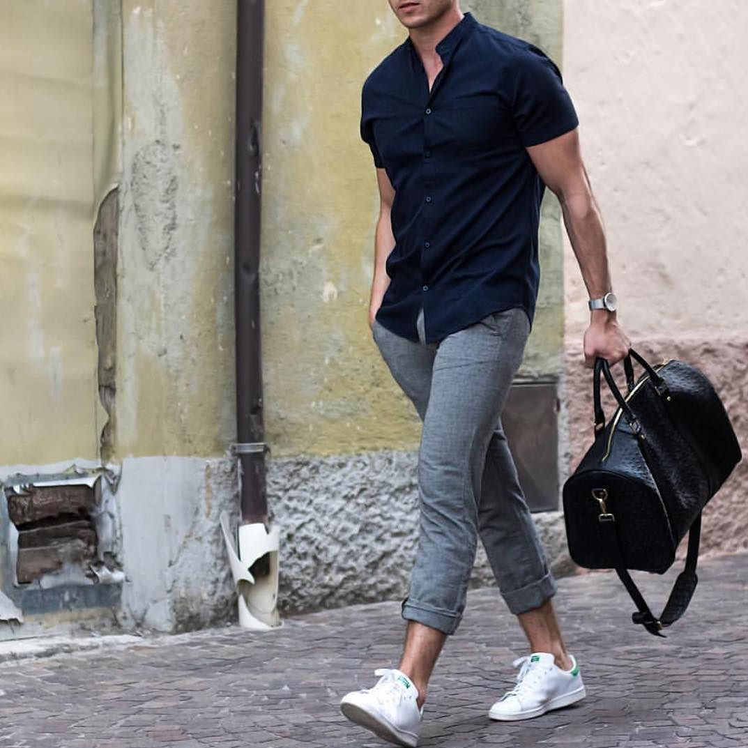 Navy short sleeve gray pants and white sneakers by @konny100 [ http://ift.tt/1f8LY65 ]