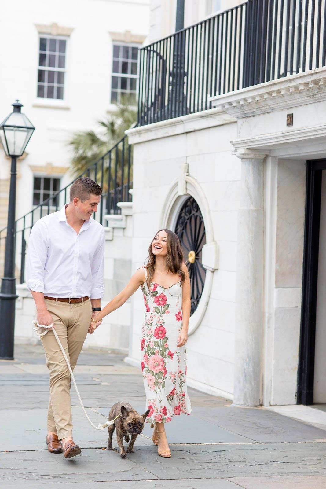 Gab, Bill and Pippa - A Sunny and Colorful Charleston Engagement Session - Engaged Life