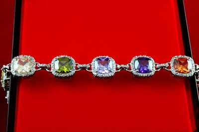 Mix Color Cubic Zirconia Bracelet, Party Bracelet, Gold Plated