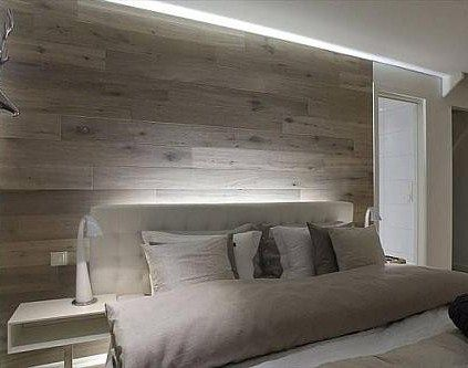 wood panel modern wall to the wall pinterest lit maison et chambre. Black Bedroom Furniture Sets. Home Design Ideas