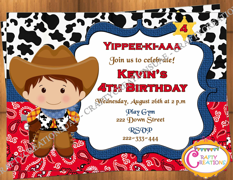 Cowboy Birthday Party Invitation Cowboy Birthday