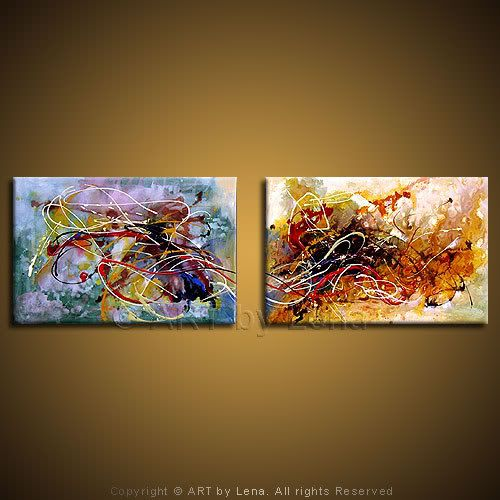 Abstract Double Canvas Painting