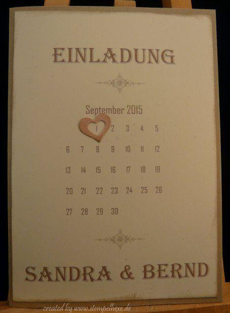 Einladung hochzeit stampin stempelhexe Kalender