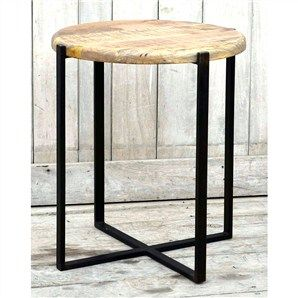 uluwata recycled mango wood timber top iron side table occasional