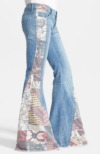 Free People 'Bali' Patchwork Flare Leg Jeans (Indigo Combo ...