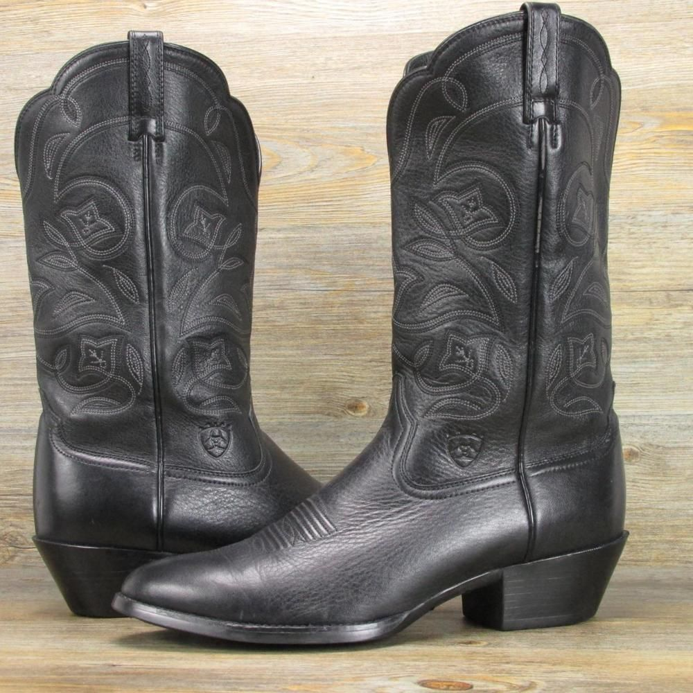 83ae7c484f1 Ariat Heritage 15770 Black Leather Cowboy Boots Women's Size 10 ...