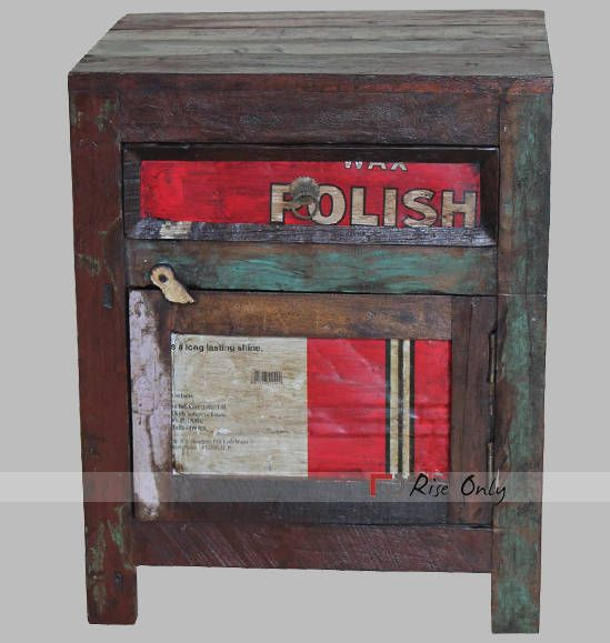 Recycled Wood Old Iron Sheet Fitted Bedside Table Dimensions 48x40x60 CBM  0.12 Colour
