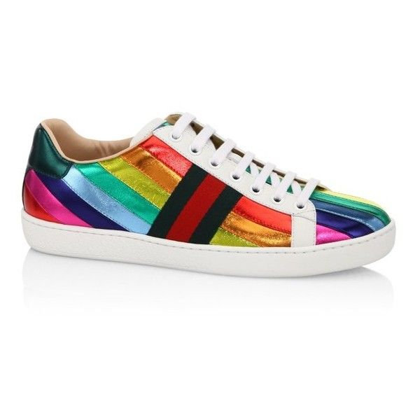 bf347b941b9 Gucci New Ace Metallic Rainbow Sneakers ( 620) ❤ liked on Polyvore  featuring shoes