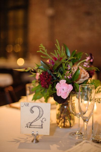 We love hand drawn table numbers for a vintage, laid back feel. #spring2014 #weddings