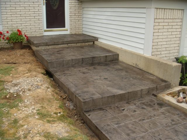 steps leading to a stamped concrete patio google search farm