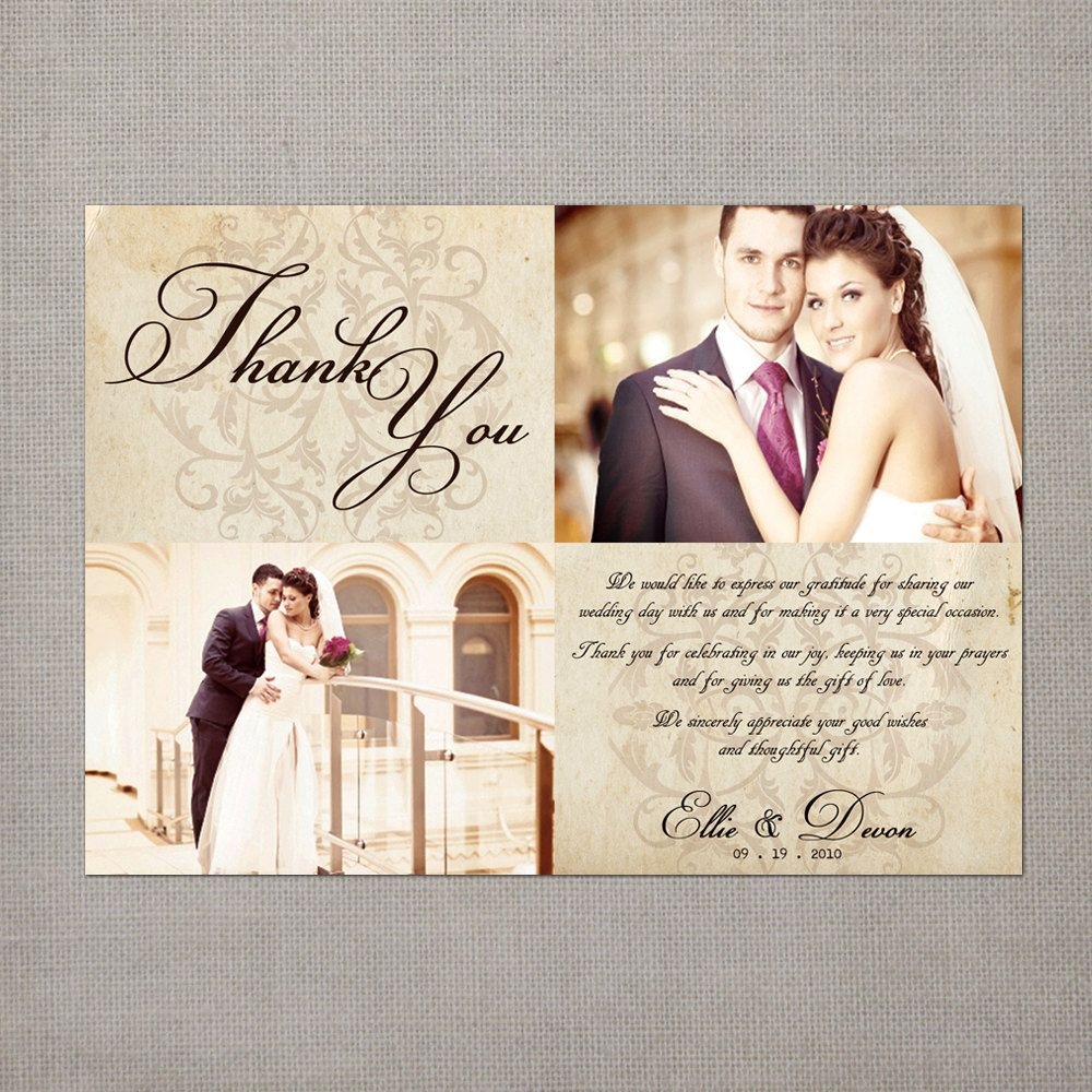 Vintage Wedding Thank You Card The Ellie 39 75 Via Etsy