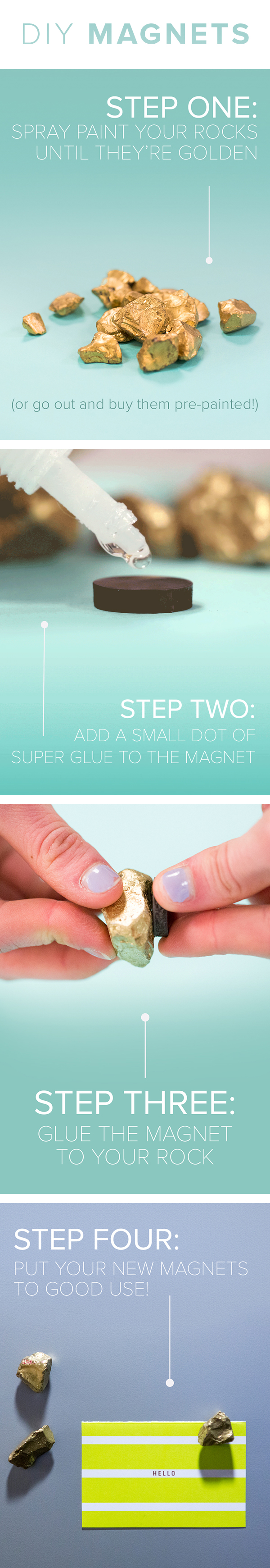 Practical and pretty Make these gold stone magnets in 2 minutes