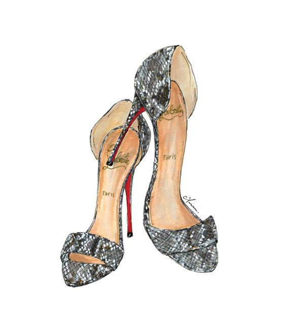 Fashion Illustration Print Python Louboutins by anumt on Etsy, $23.00
