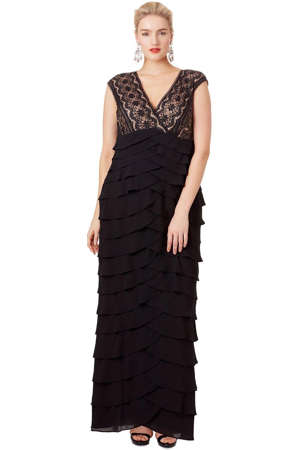 Adrianna Papell Black Scallop Gown Evening Wear Dresses Dresses Winter Wedding Guest Dress [ 1573 x 1049 Pixel ]