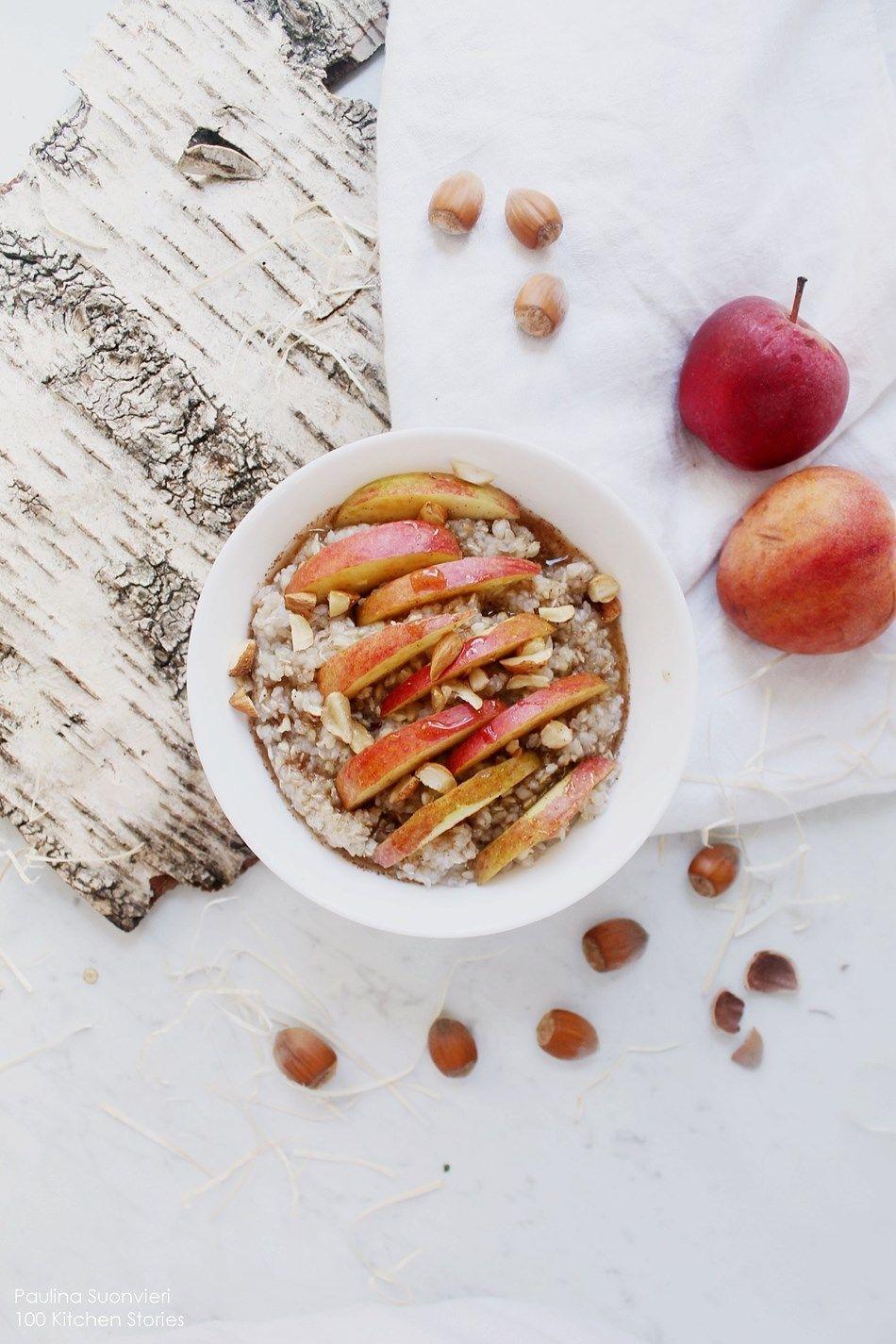 100 KITCHEN STORIES: Buckwheat Porridge with Apple, Cinnamon Swirl ...