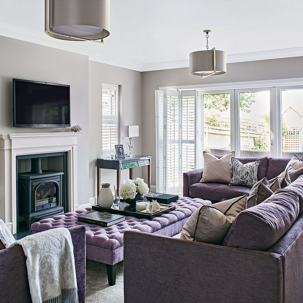 Light grey living room with lilac sofa | Places to visit | Pinterest ...