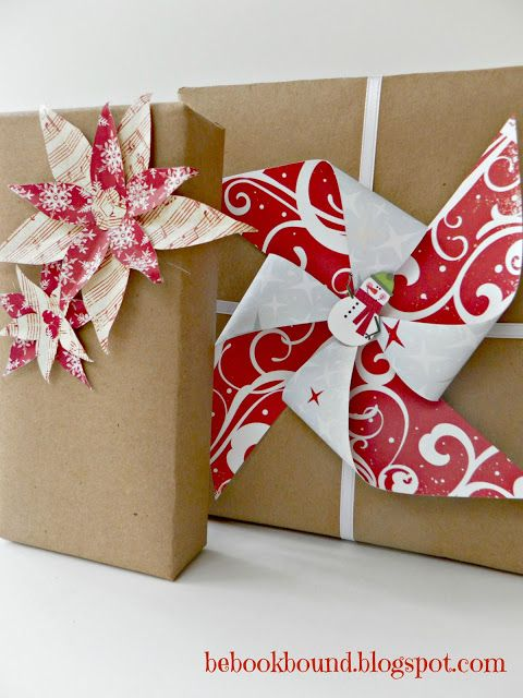 awesome diy christmas gift wrapping ideas using kraft paper with cute paper windmill floral shaped paper toppers decoration furniture