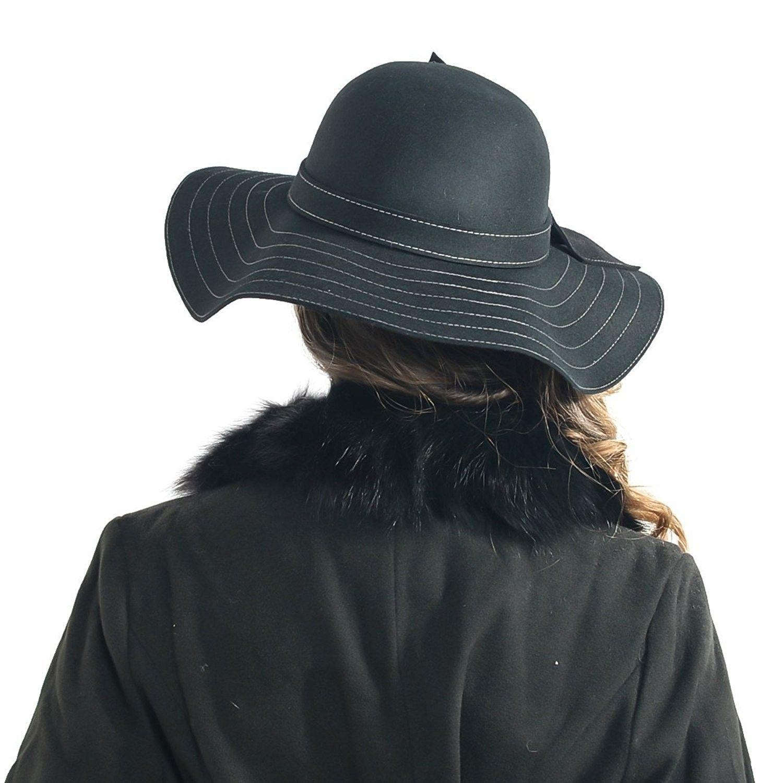 aca48dfd8 Fanny Lady's Wool Floppy Wide Brim Winter Felt Hat with Bow Sz-z0011 - Black
