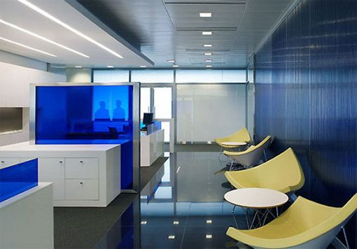 Modern Minimalist Commercial Bank Office Interior Design Photo Equipped With Blue Colo Minimalist Office Design Modern Office Design Contemporary Office Design