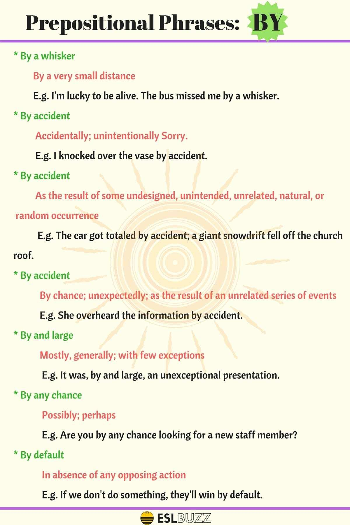 20 Popular Prepositional Phrases With By With Meaning And
