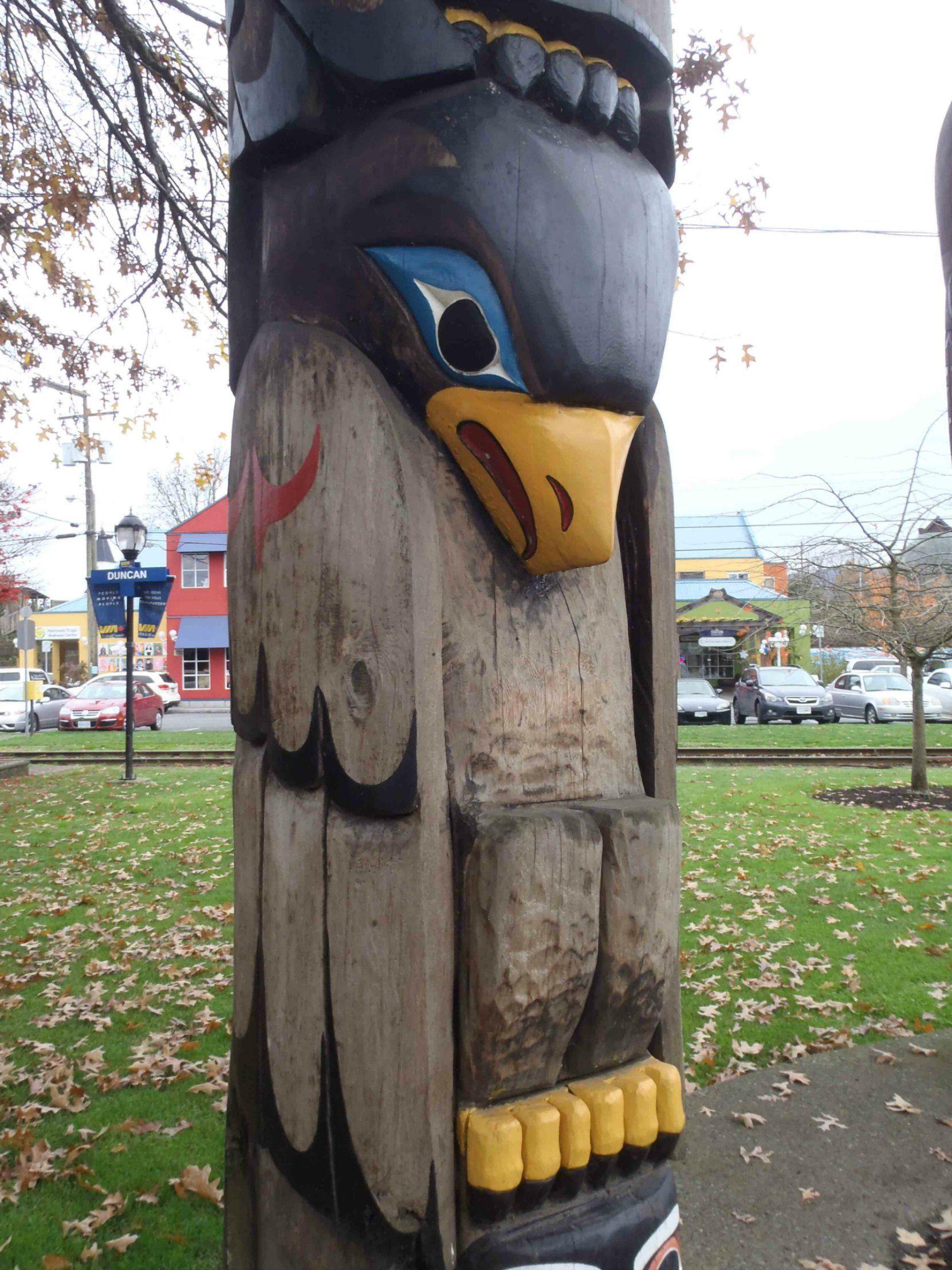 Transformation In Life Totem Pole Bald Eagle Figure Canada Avenue Duncan BC