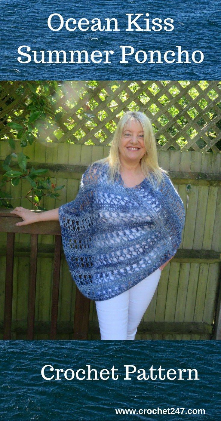 Ocean Kiss Summer Poncho Crochet Pattern | Ponchos, Chal y Personas