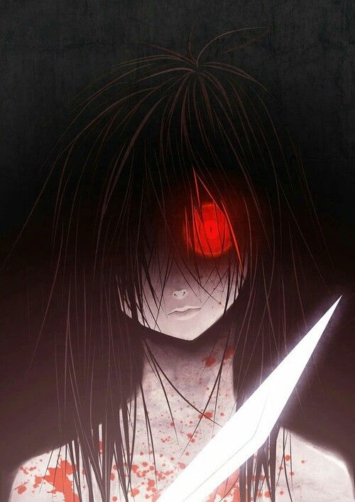 Psychopath Knife Red Eyes Black Hair Blood Anime Anime アニメ