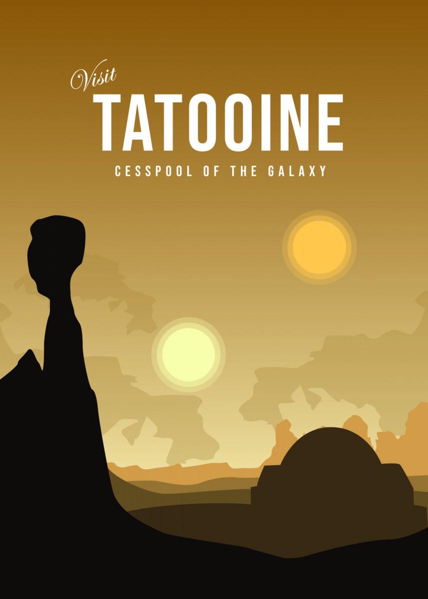 Visit tatooine Planet Minimalistic Poster Print | metal posters - Displate | Displate thumbnail