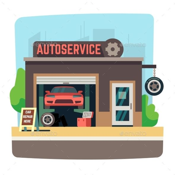 Car Repair Mechanic Shop With Automobile Inside Mechanic Shop Garage Repair Auto Repair