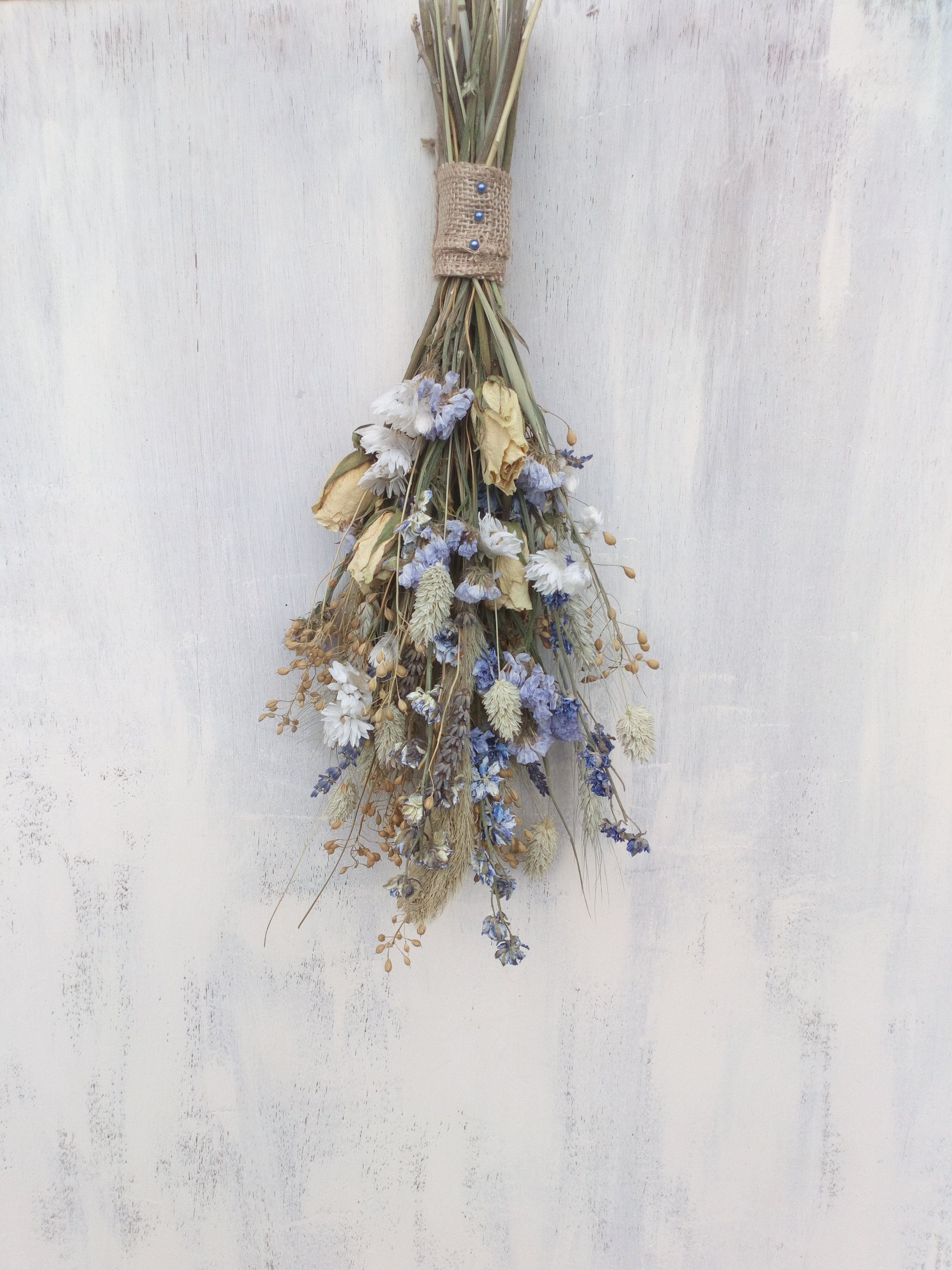 Dried Flower Wall Hanging Cool Tones Dried Flowers Wedding Decor Home Decor Flower Bunch Flowe Hanging Flower Wall Hanging Flower Arrangements Flower Wall