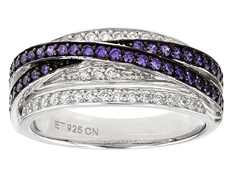 cf70931ff3dac Pre-Owned Purple And White Cubic Zirconia Black And White Rhodium Over  Sterling Silver Ring