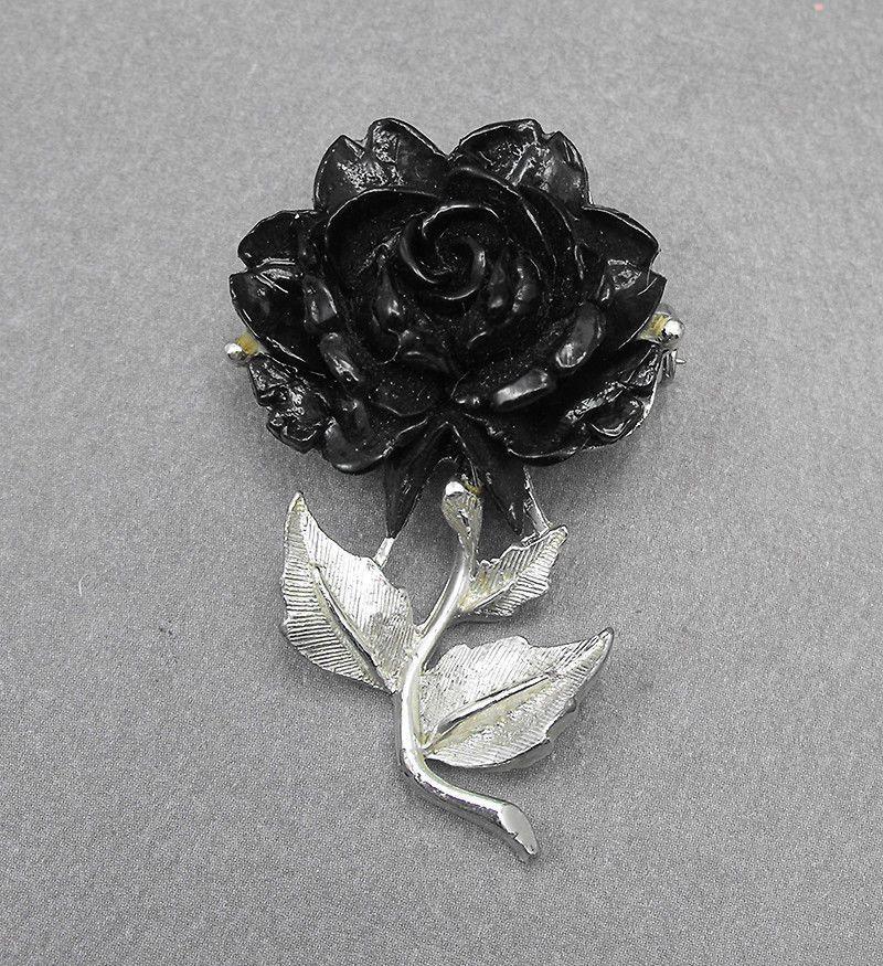 Unique vintage molded rose flower brooch