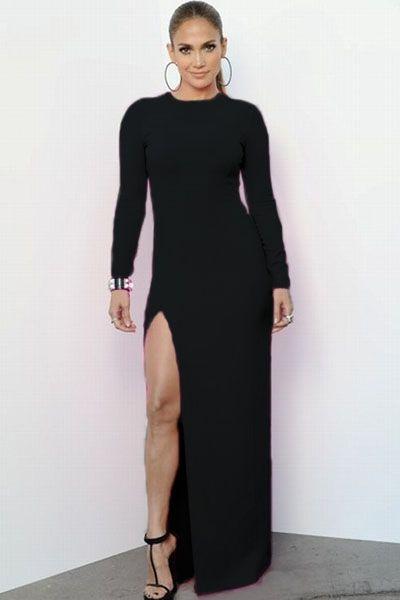 Black Long Sleeve Maxi Dress With Side Split Style Files Wardrobe
