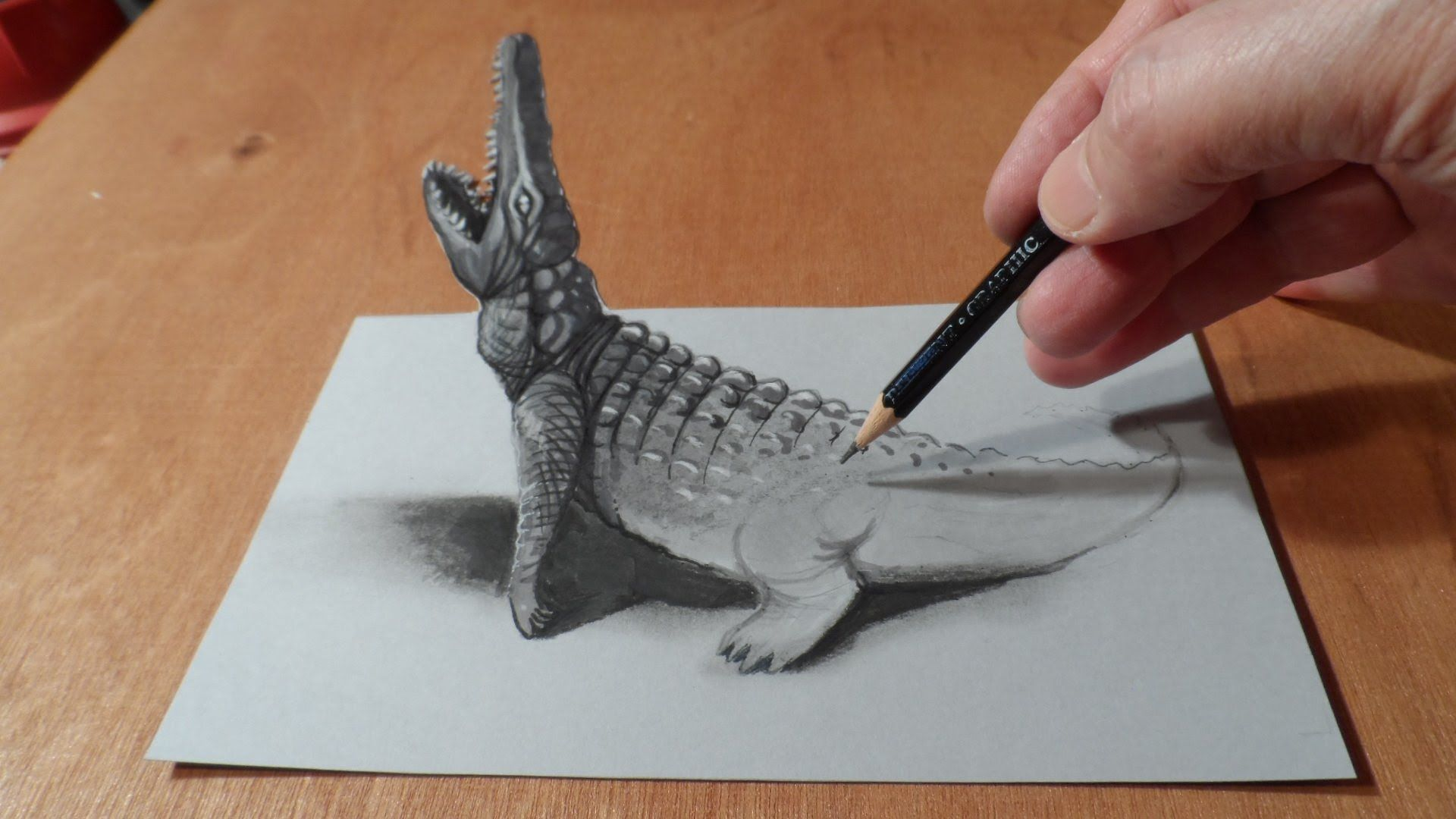 forced perspective drawing, make it look like it is coming off the