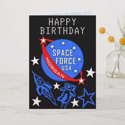 Space Force USA Cool Happy Birthday Personalized Card