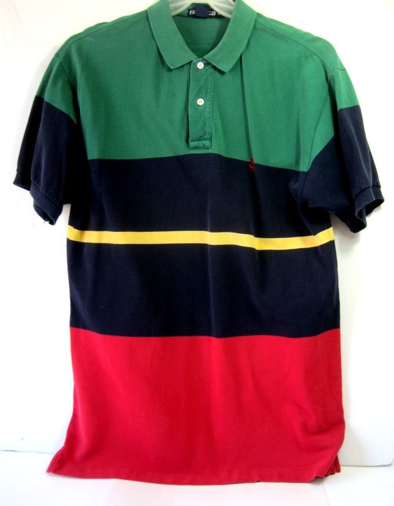 Nautica Men's Polo Striped Shirt Size L Short Sleeve  #Nautica #PoloRugby