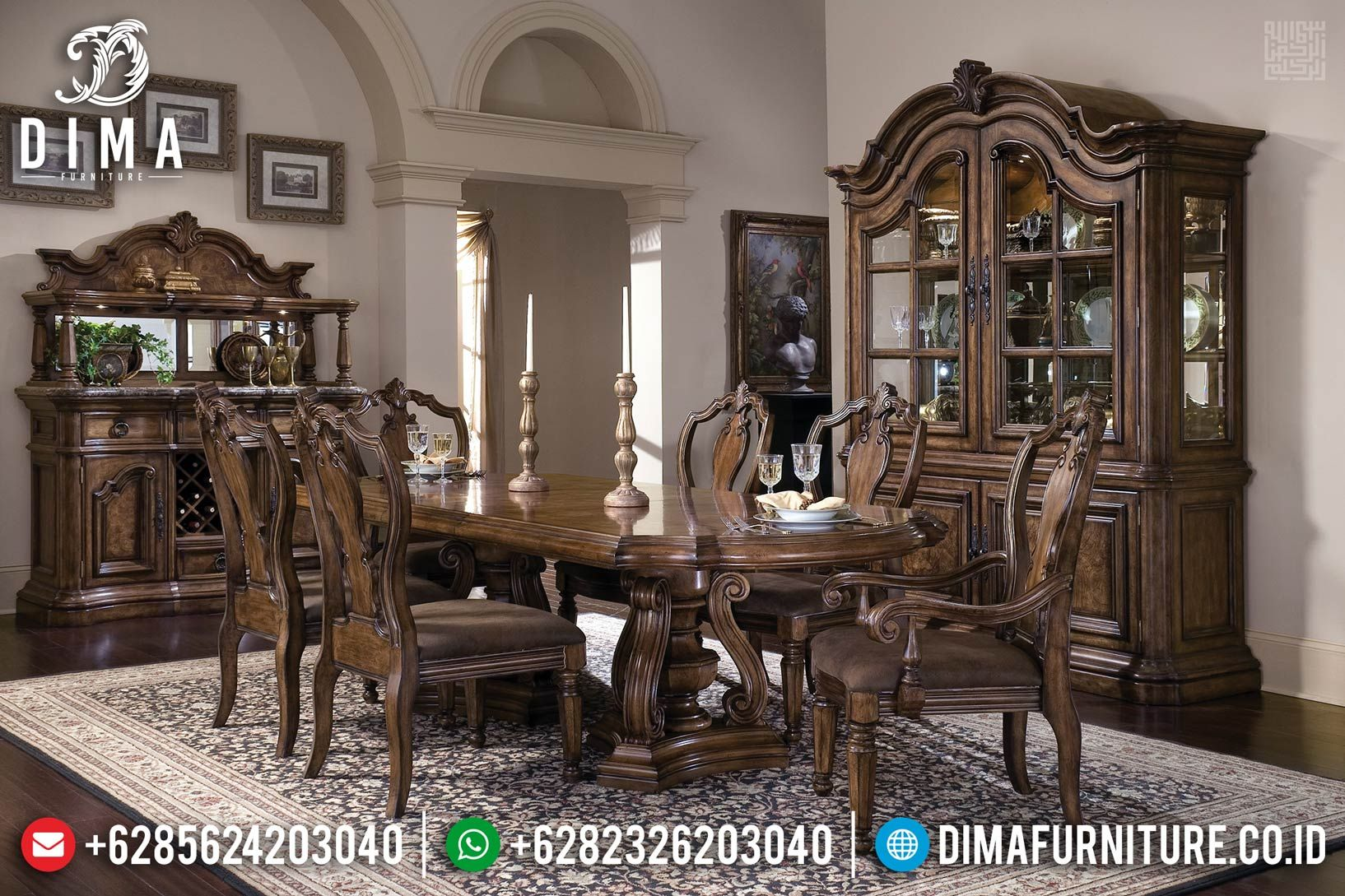 New Sale Meja Makan Jati Furniture Jepara Natural Pu Df 1185 Di