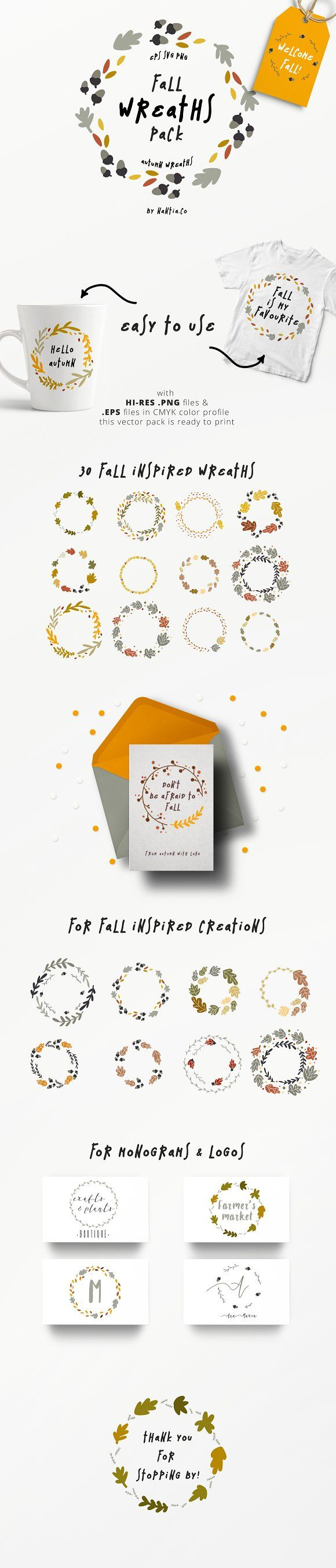 30 fall wreaths vector pack by nantia on creativemarket this pack 30 fall wreaths vector pack by nantia on this pack is the easiest way to create monograms logos to decorate invitations cards or mugs stopboris Images