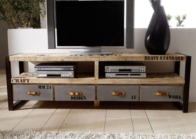 Tv Board Industrial tv board industrial stil aus mango eisen bedruckt mehrfarbig möbel
