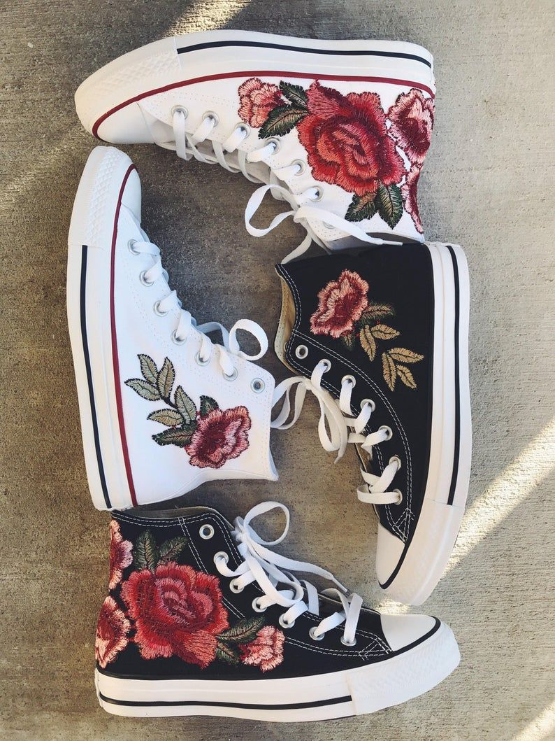 Rose embroidered hi top converse-shoes