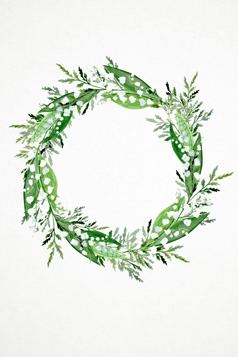 Lily Of The Valley Watercolor Wreath Png White Flowers Wreath Png