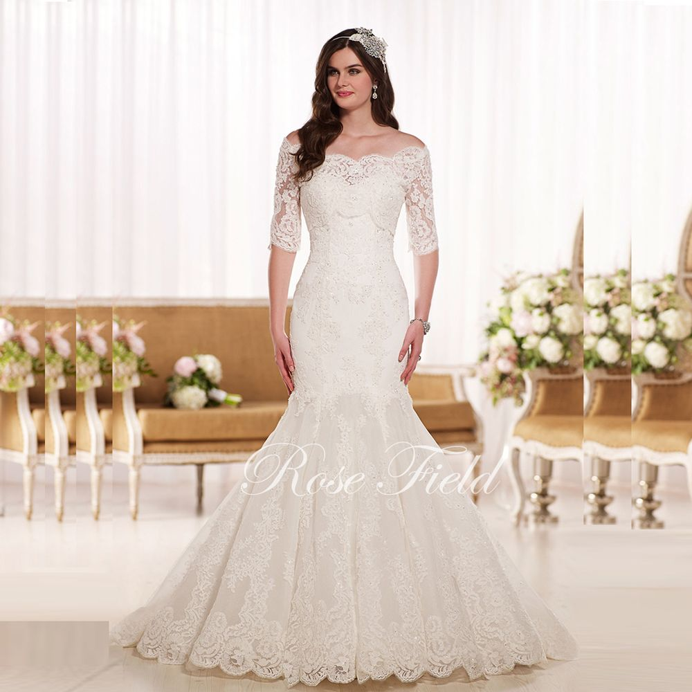 SL 0210983 Gorgeous Mermaid Bridal Gown Sweetheart Appliqued Lace Half Sleeves Wedding Dress With Detachable