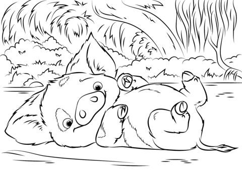 pua pet pig from moana coloring page