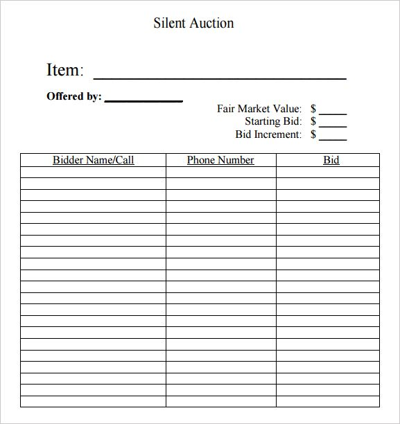 Silent auction bid sheet free silent auction bid sheets for Auction spreadsheet template