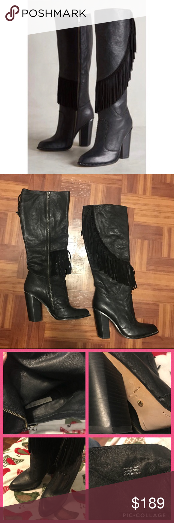 """a9afd7849c6 Cynthia vincent fringe boots Like new Real leather Worn just once Perfect  condition Black boots 4"""" high Cynthia Vincent Shoes Winter   Rain Boots"""