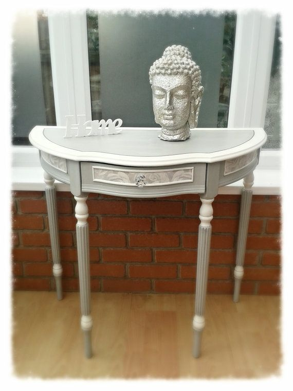 Demi Lune Console Table with Decoupage Shabby ChicVintage French