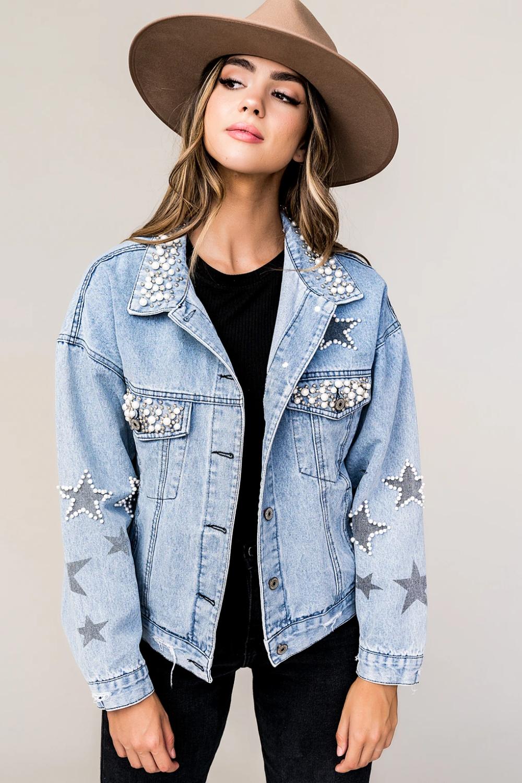 Star Struck Luxe Pearl Studded Star Denim Jacket Dressed In Lala Denim Jacket Jackets Denim Jacket With Dress [ 1500 x 1000 Pixel ]