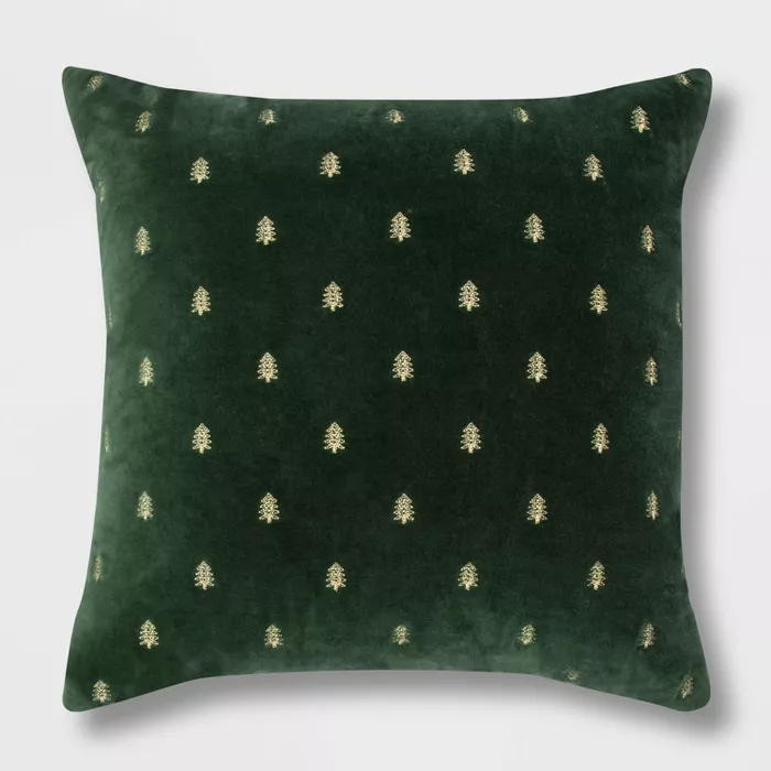 Embroidered Trees Velvet Oversize Square Throw Pillow